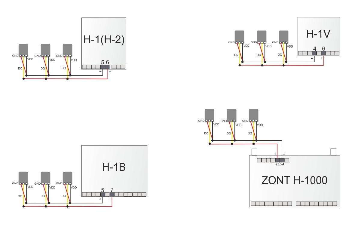 Проводное подключение датчиков температуры теплоносителя DS18B20 (в металлической гильзе) к термостатам ZONT