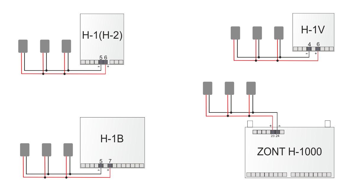 Проводное подключение температурных датчиков DS18S20 к термостатам ZONT